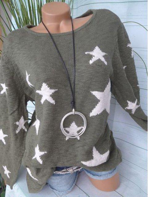 Round Neck Stars Knit Wears Women's Winter Warm Sweaters