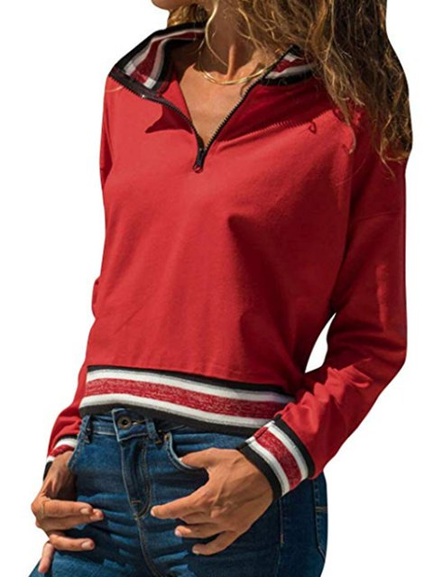 Stand Collar Stripes Casual Zipper-Up Pullover Jumper Sweatshirts