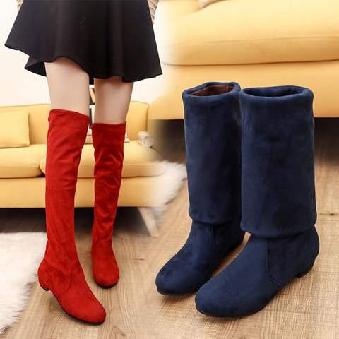 Women Autumn Winter Shoes Over The Knee Tall Long Red Blue Boots Slim High Heeled Boots