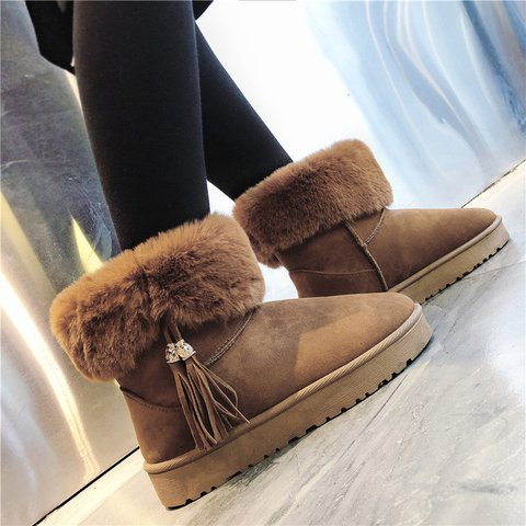 Womens Flat Heel Daily Artificial Suede Snow Boots