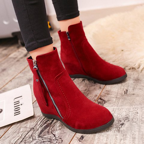 419cd5502a9 Women Casual Increase Height Zipper Boots Shoes