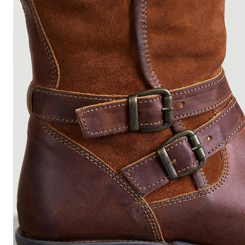 146ee91a069 Women's Boots Casual Round Toe Adjustable Buckle Chunky Heel Brown Boots