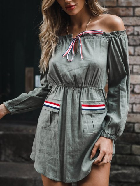 One Shoulder Women Casual Dresses Shift Daily Lace-Up Solid Dresses