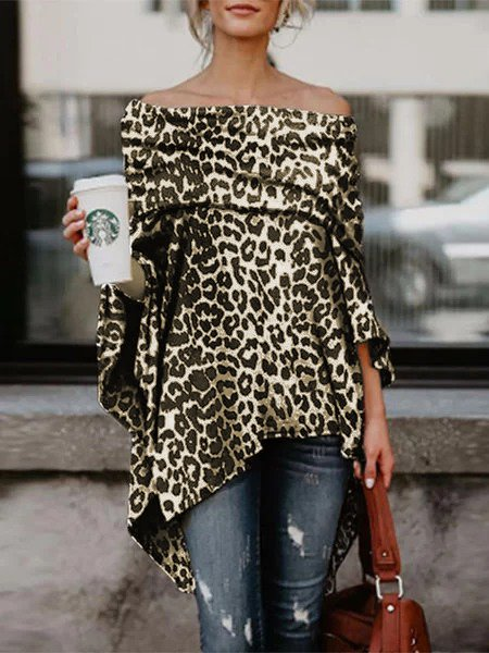 Black Printed Leopard Print Off Shoulder Sweet T-Shirts