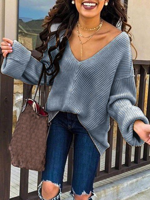 Solid Sweet V Neck Long Sleeve Sweaters
