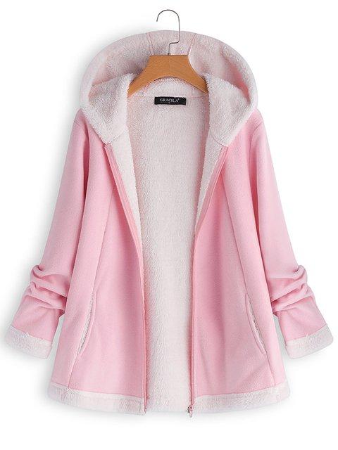 Casual Hooded Zipper Pocket Long Sleeve Fleece Coats For Women