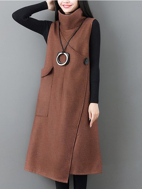 Turtle Neck Women Elegant Dresses A-Line Daily Pockets Dresses