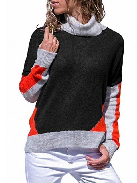 Color-Block Patchwork Turtle Neck Long Sleeve Sweaters