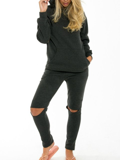 Long Sleeve Ripped Sports Hoodie Jumpsuits Suit Set
