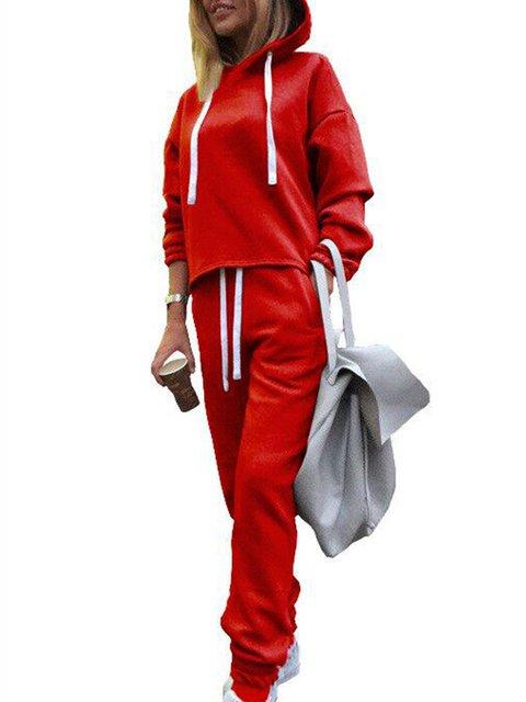 2 Pcs Set Cotton-Blend Casual Long Sleeve Jumpsuits Hoodies Pants Suit Set