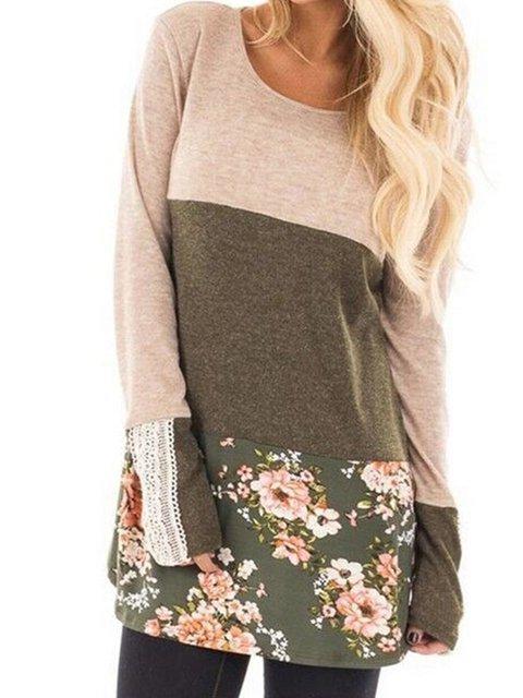 Gray & Apricot Floral Lace Color-Block Women's T-Shirts