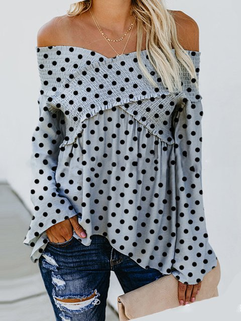Gray Folds Polka Dots Off Shoulder Bell Sleeve Fall/Autumn Blouses