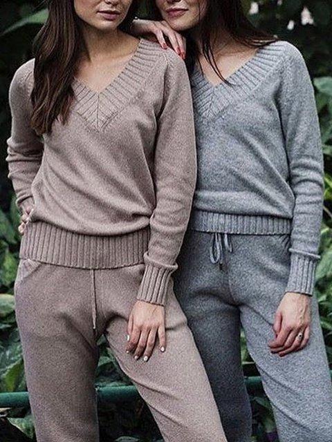 3 Colors Plain Pockets V Neck Jumpsuits Knit Wear Women's Fal/Autumn Suitsets