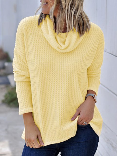 Cowl Neck Casual Long Sleeve T-Shirts