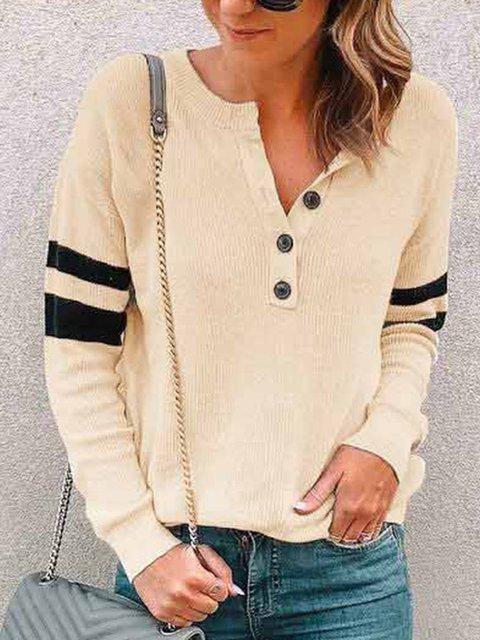 Long Sleeve Buttoned Vintage V Neck Paneled T-Shirts