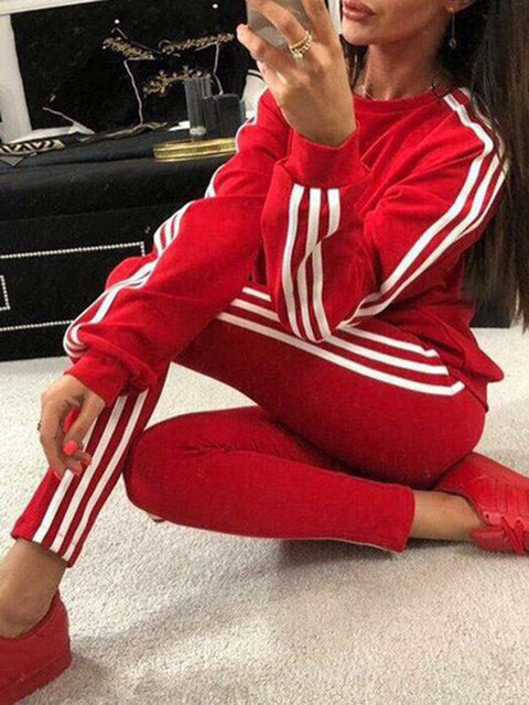 Sports Knitted Long Sleeve Crew Neck Suit Set