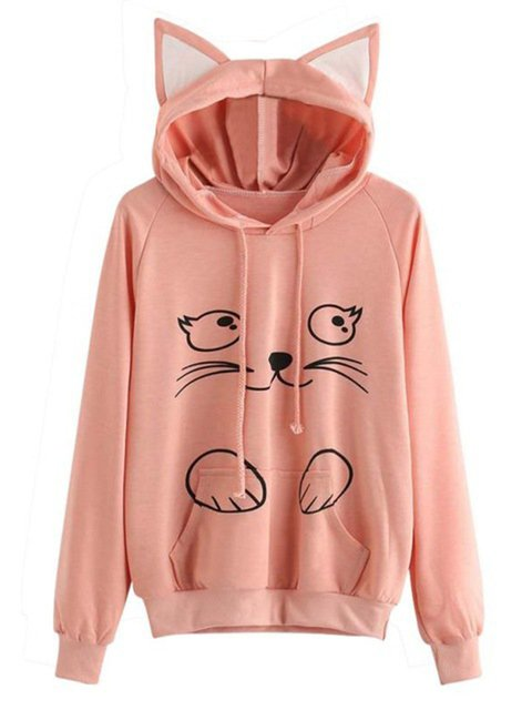 3 Colors Meow Cat Paneled Sweet & Cute Pullover Jumper Hoodies