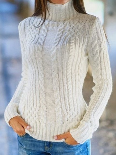 Turtle Neck Casual Long Sleeve Sweaters