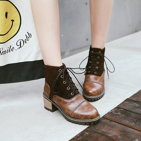 Women's Chunky Heel Vintage Lace Boots