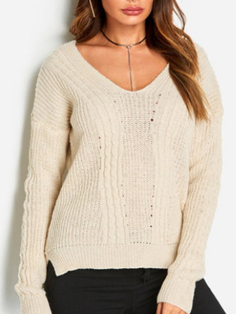 4 Colors Swewet & Elegant Solid V Neck Lady's Knit Wear Sweaters