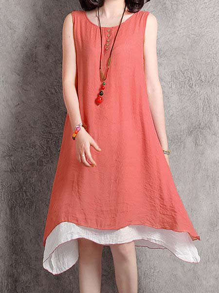 Women Sleeveless Casual Paneled Solid Casual Dress