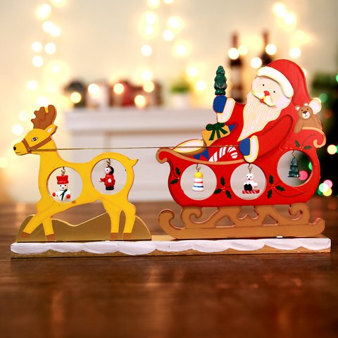christmas decorations three dimensional wooden creative diy santa claus sleigh elk cart christmas tree desktop