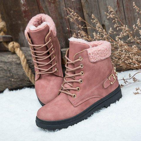 Womens Rivet Flat Heel Pu Lace-Up Snow Combat Boots