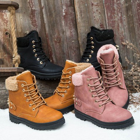 74e5f056853 JustFashionNow Women s Boots Pink Round Toe Lace-Up Flat Heel Boots