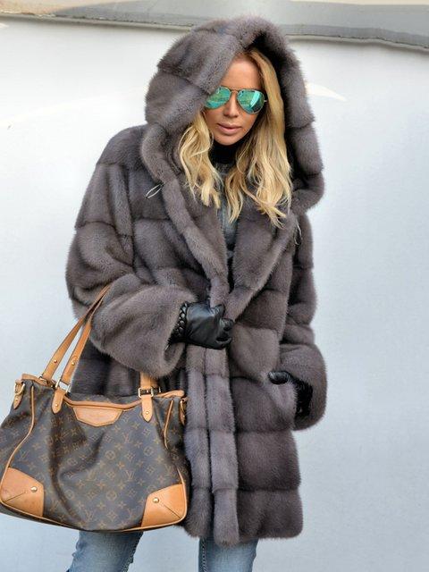 Royal Mink Furs Coat Vintage Pockets Hoodie Faux Fur Coats