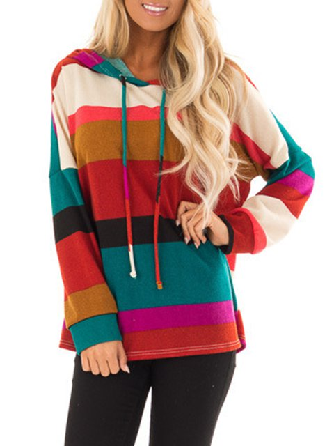2018 Fashion Multicolor Stripes Drawstring Color-Block Pullover Hoodies