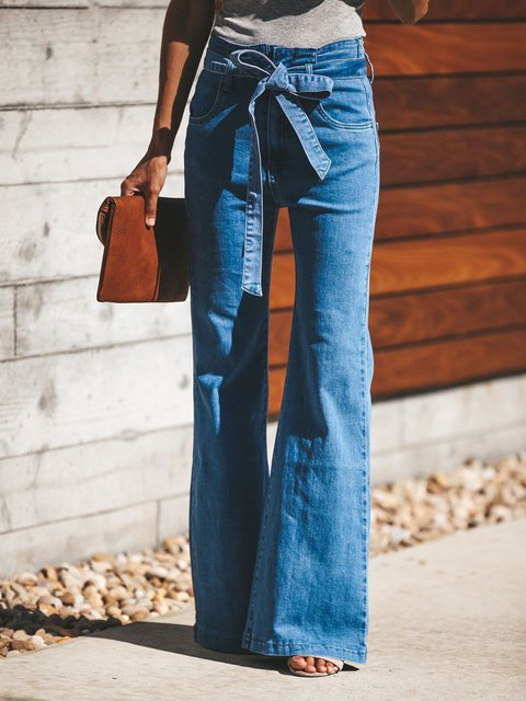 Plain Classic WIde Leg Jeans Pockets Bow Lady's Denim Pants