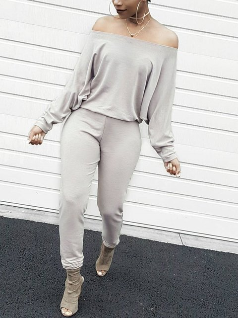 Cotton-Blend Solid Long Sleeve Sexy Jumpsuits
