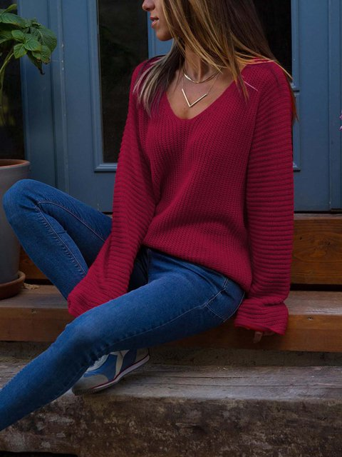 Sexy V-Neck Solid Long Sleeve Sweaters