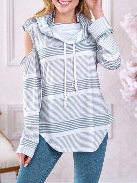 Gray Stripes Drawstring Simple & Basic Cowl Neck Pullover Jumper Sweatshirts