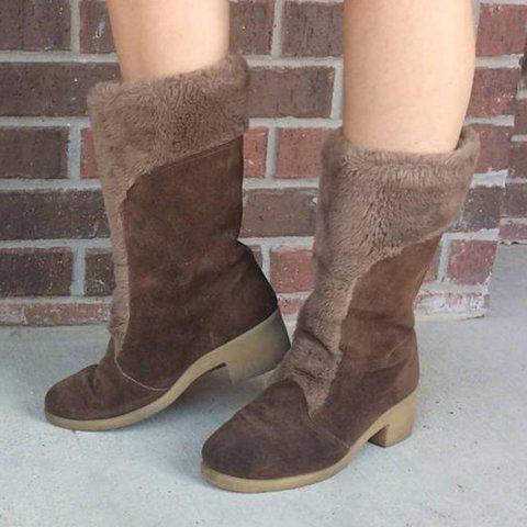 Women Faux Fur Suede Chunky Heel Shearling Shape Boots Casual Winter Shoes