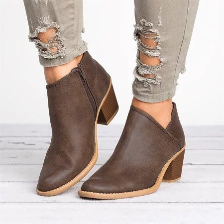 Plus Size Cutout Booties with Zipper Chunky Heel PU Distressed Boots
