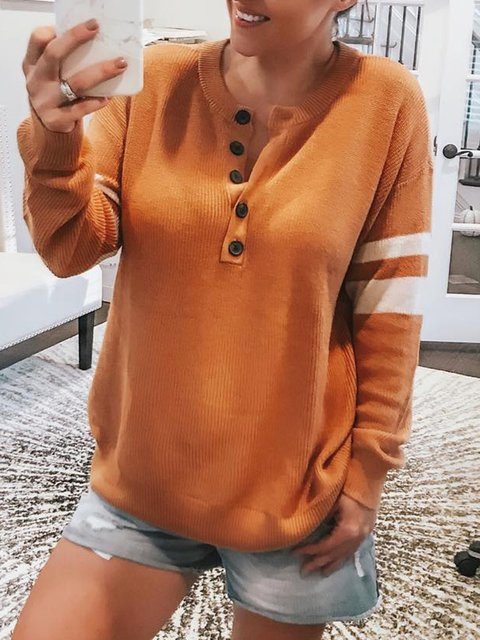 Plain Simple & Basic Button-Up Knit Wear Pullover Jumper Sweaters