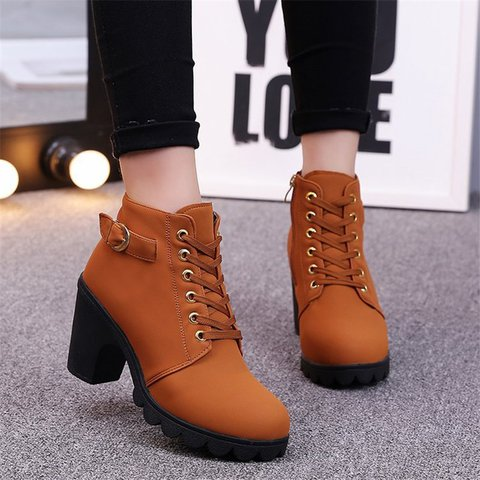 High Heel Artificial Leather Winter Outdoor Boots