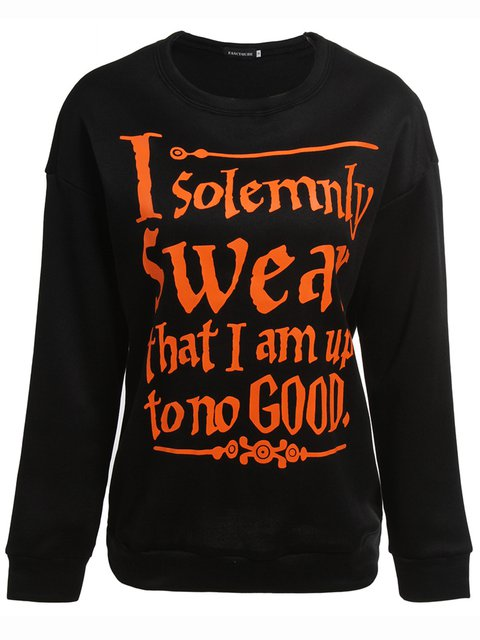 Black Crew Neck Letter Casual Long Sleeve Halloween Sweatshirts