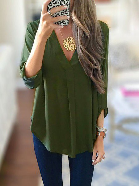 Women Long Sleeve Pockets Plain V neck Blouse
