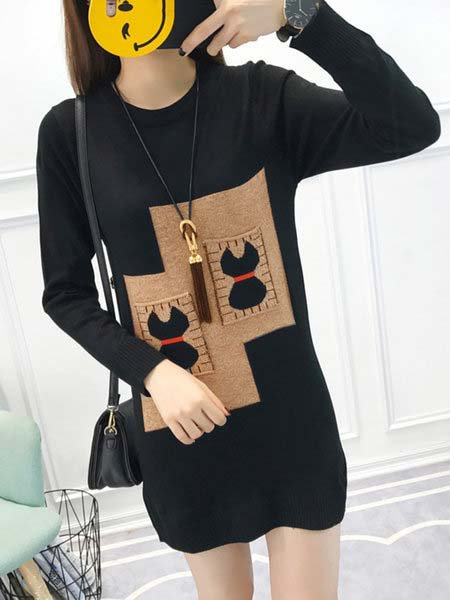 Black Shift Women Daily Long Sleeve Elegant Paneled Solid Casual Dress