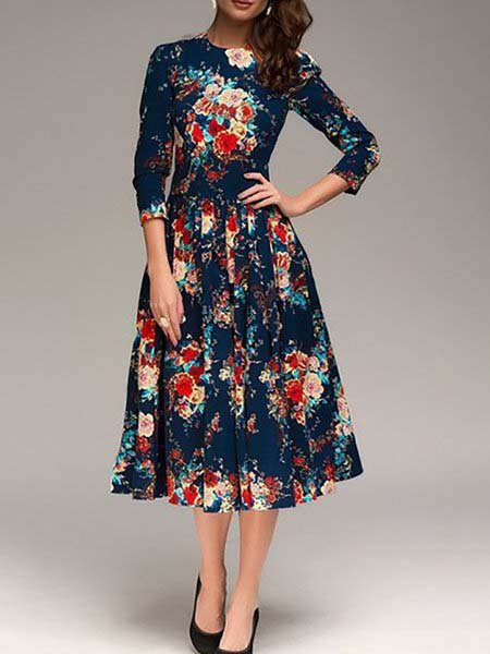 Navy Blue Swing Women Half Sleeve Statement Floral Elegant Dress