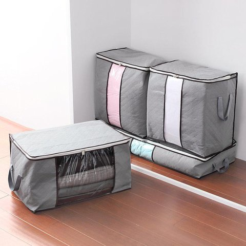 Upgraded Thickened 62L Folding Bamboo Charcoal Clothes Storage Bag