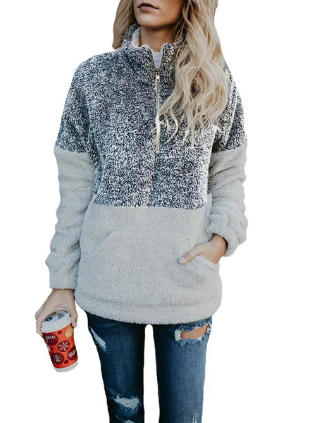 Zipper Turtle Neck Pockets Winter Cotton Sweatshirt