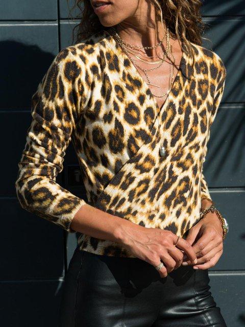 Leopard Print V Neck Long Sleeve Blouses
