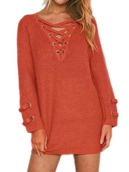 Casual Long Sleeve Lace up Winter Solid V-Neck Sweater