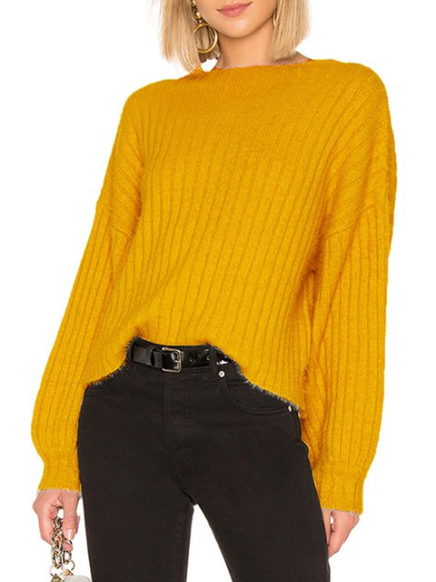 Long Sleeve Knitted Crew Neck Sweaters