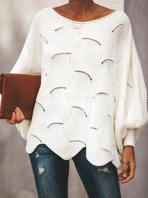 Knitted Balloon Sleeve Casual Sweaters