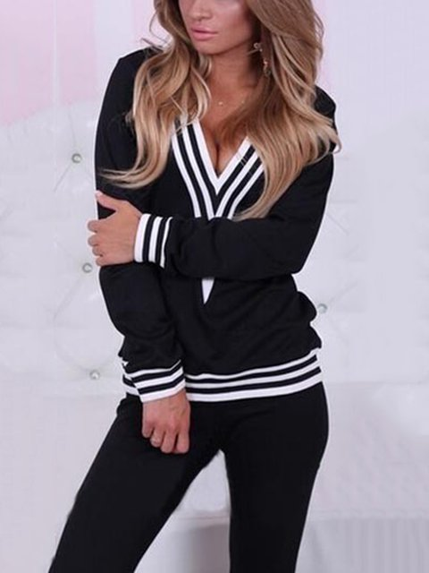 V Neck Solid Vintage Binding Jumpsuits Suit Set