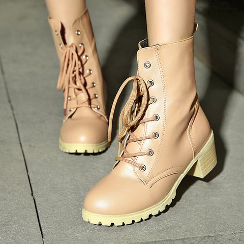 Women Casual Chunky Heel Lace Up Martin Boots